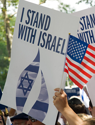 Photo of I Stand with Israel signs.